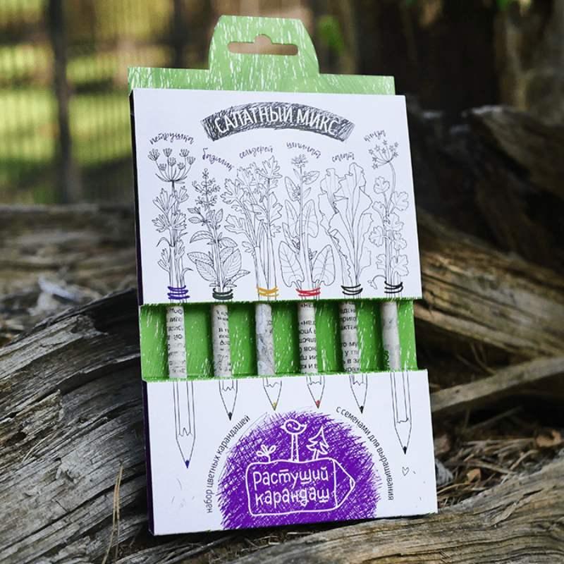 Салатный микс, набор цветных бумажных карандашей 6шт.Подарки<br>На конце карандаша вместо ластика помещена капсула. В ней содержатся семена различных растений. В данном наборе пряные растения: петрушка, базилик, сельдерей, шпинат, салат, кинза.<br>Размер: 19 х 1 х 12 см; Объем: None; Материал: Бумага; Цвет: None;