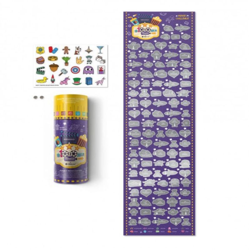 Скретч постер #100ДЕЛ MOVIES editionПодарки<br>Постер - это мотивирующий подарок для каждого. Он идет в комплекте со стильным тубусом, который можно использовать как копилку или тайник.<br>Размер: 60 х 15 см; Объем: None; Материал: Бумага; Цвет: Фиолетовый;