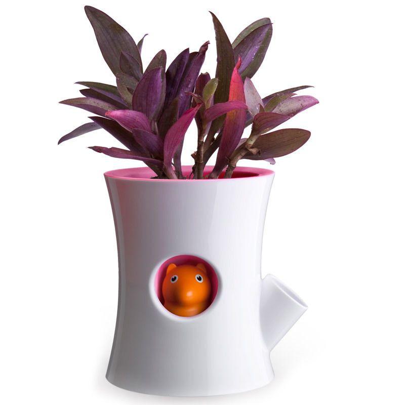 Горшок самополивающийся Log&amp;Squirrel белый/розовыйГоршки для растений<br>Горшок самополивающийся Log&amp;Squirrel белый/розовый<br>Размер: 17х13.5 см.; Объем: None; Материал: Пластик; Цвет: Белый / Розовый;