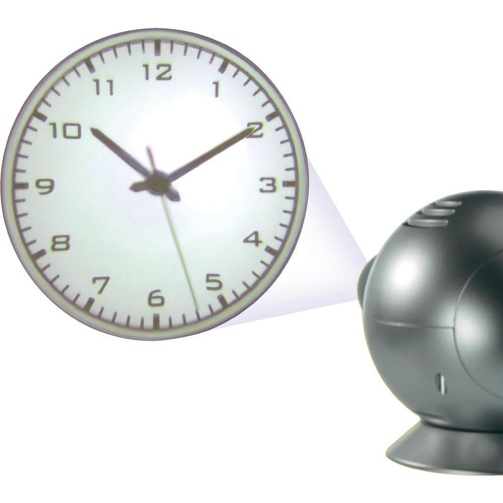 Часы с проекцией OVOДень рождения<br>Удивительный подарок любителям фильмов и всего необычного.<br>Размер: 12 х 19 х 15 см; Объем: None; Материал: Пластик; Цвет: Серебристый;