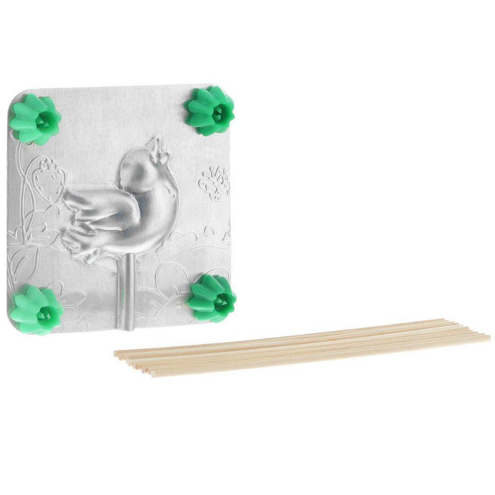 Форма для леденцов - ПтичкаФормы для леденцов<br>Форма для леденцов Птичка<br>Размер: 9.5 х 9.5 см.; Объем: None; Материал: Алюминий; Цвет: Серебро;