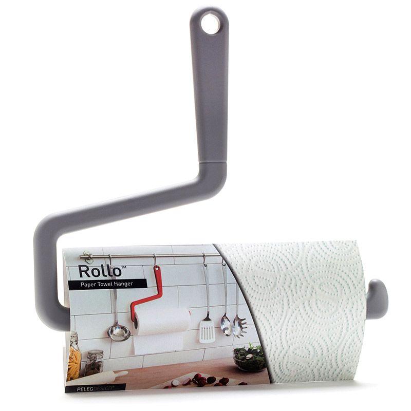 Держатель вешалка для бумажных полотенец Rollo серыйПорядок и хранение<br>Держатель вешалка для бумажных полотенец Rollo серый<br>Размер: 23 х 26 х 1 см.; Объем: None; Материал: Пластик ABS; Цвет: Серый;