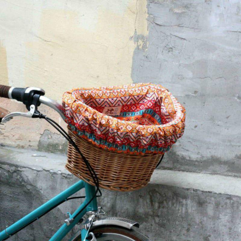Плетеная корзина АйдахоПодарки<br>Плетеная корзина на самый милый велосипед.<br>Размер: 37 х 24.5 х 28 см; Объем: None; Материал: Текстиль; Цвет: Белый / Оранжевый;