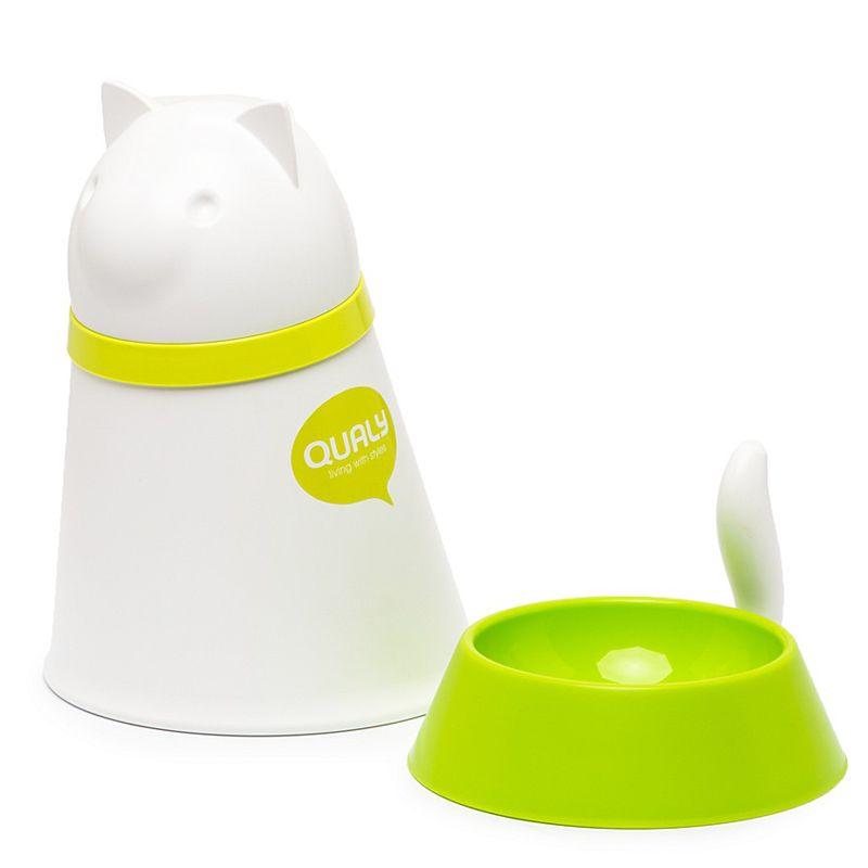 Контейнер + миска для кошки Kitt белаяПодарки<br>Контейнер+миска для кошки Kitt белая<br>Размер: 28 х 25 х 21 см.; Объем: None; Материал: Пластик; Цвет: Белый / Зеленый;