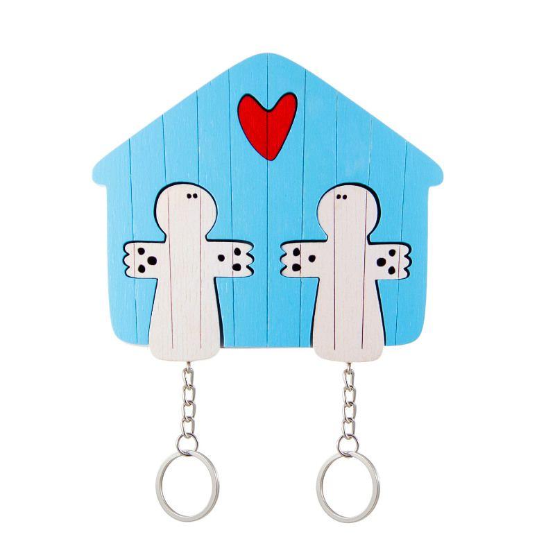Ключница деревянная на два ключа Ангел голубаяПодарки<br>Ключница деревянная с изображением ангела.<br>Размер: 11 х 9 см; Объем: None; Материал: Дерево; Цвет: None;