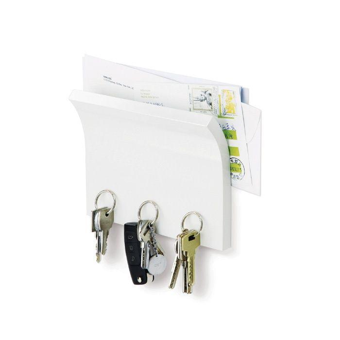 Держатель для ключей и писем Magnetter белыйПодарки<br><br>Размер: 20 х 15 см; Объем: None; Материал: Дерево, магнит; Цвет: Белый;