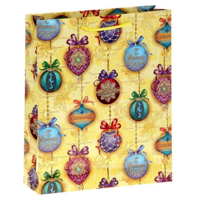 Пакет ламинат вертикальный Новогодние шары 31х40 смНовогодние украшения<br>Пакет ламинат вертикальный Новогодние шары 31х40 см<br>Размер: 9 х 31 х 40 см.; Объем: None; Материал: Картон; Цвет: Комбинированный;