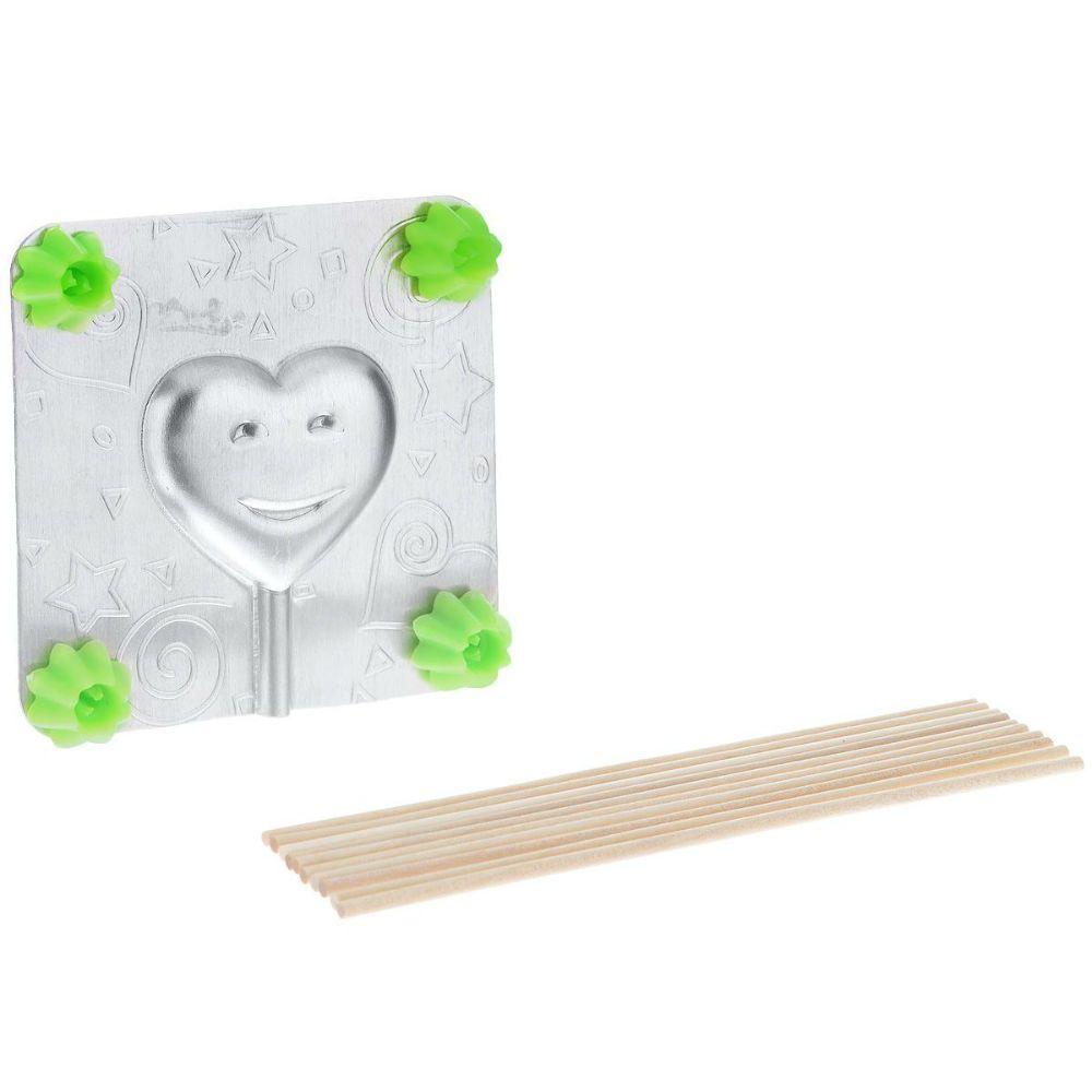 Форма для леденцов - СердечкоДля молодежи<br>Форма для леденцов Сердечко<br>Размер: 9.5 х 9.5 см.; Объем: None; Материал: Пищевой аллюминий, дерево; Цвет: Серебро;