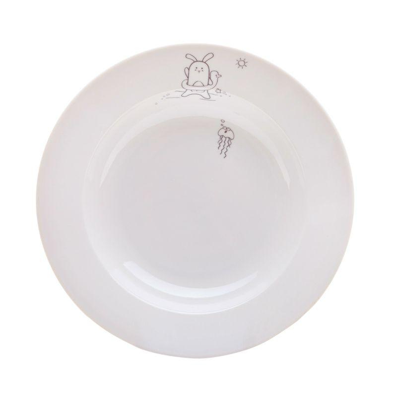 Сюжетная тарелка Кроль с кругом, глубокаяПодарки<br>Кроль с кругом на тарелке с обедом.<br>Размер: None; Объем: None; Материал: Фарфор; Цвет: Белый;