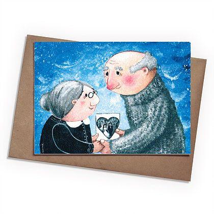 Поздравительная открытка Старички