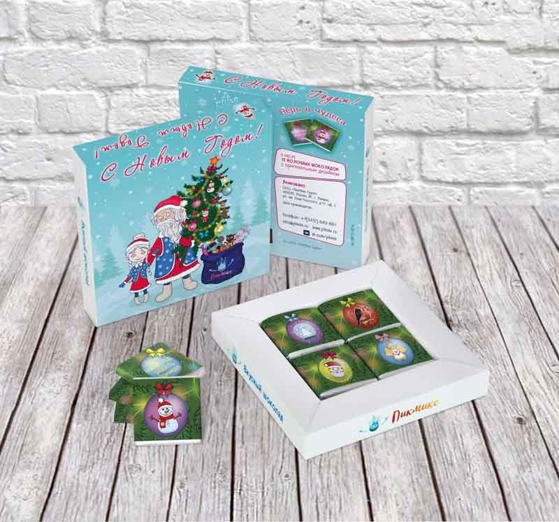 Шоколадный набор Дед Мороз со СнегурочкойНовый год<br>Дед Мороз со Снегурочкой в шоколадном наборе.<br>Размер: 10,8 х 10,8 см; Объем: None; Материал: Шоколад; Цвет: None;