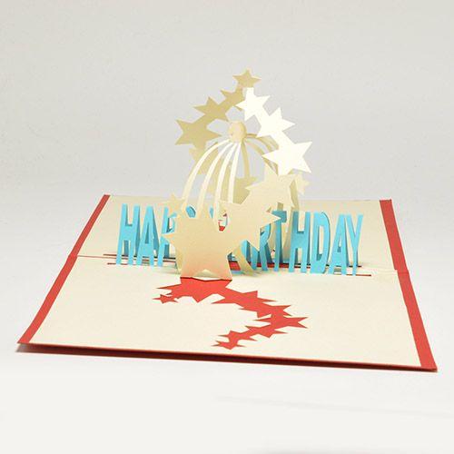 Объемная открытка 3D С Днем Рождения (Звезды)