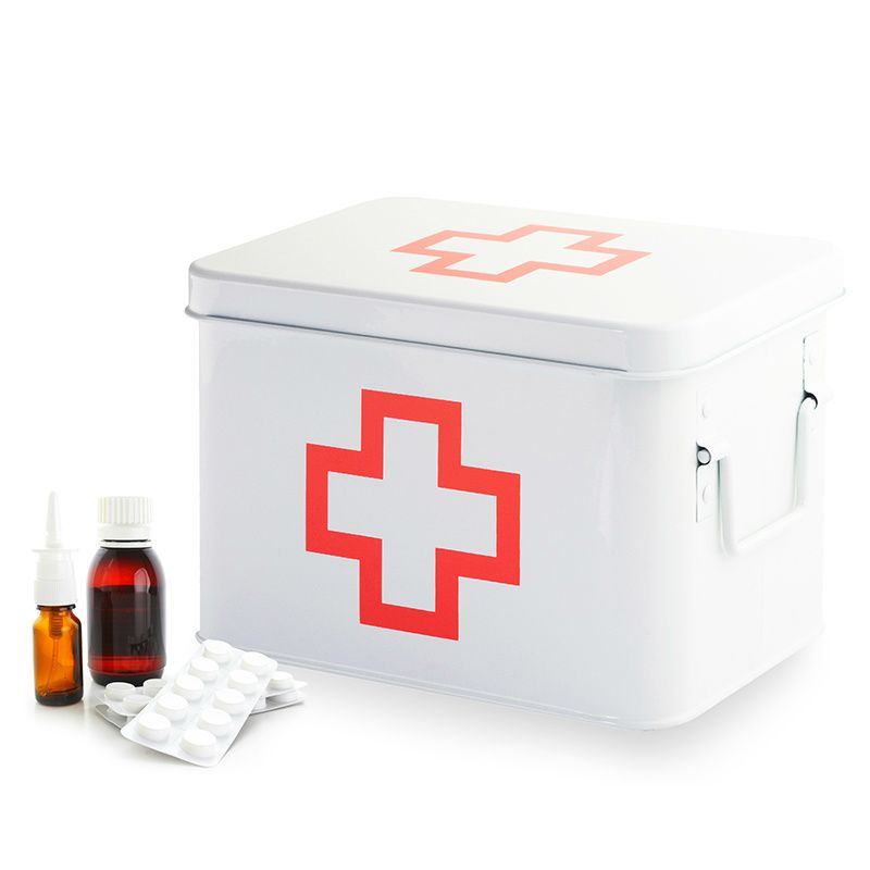 Бокс для лекарств First-aidПодарки для дома<br>Бокс для лекарств First-aid<br>Размер: 21.5 x 15.5 x 14 см.; Объем: None; Материал: Металл; Цвет: Белый;