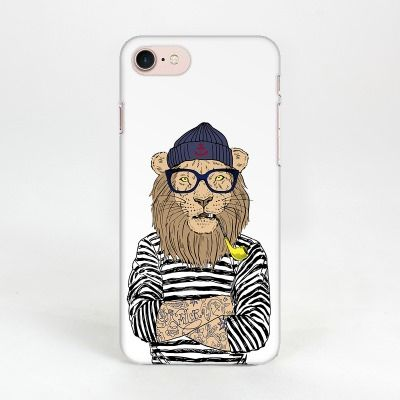Пластиковый чехол Hipsta Animals для iPhone 7 (Лев)Аксессуары для гаджетов<br>Прикольный лев на вашем смартфоне.<br>Размер: None; Объем: None; Материал: Пластик; Цвет: Белый;