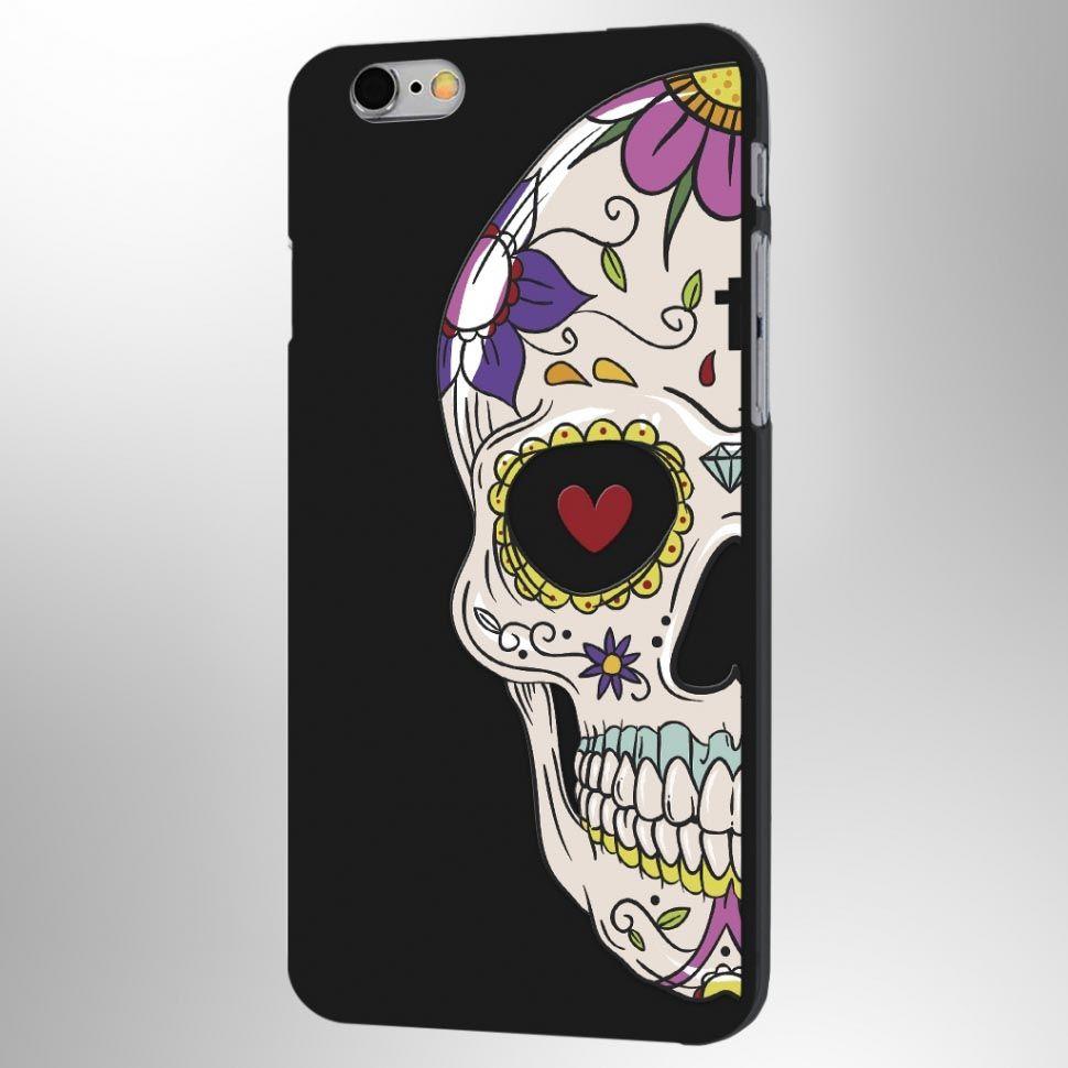 Чехол Череп мексиканский iPhone 6/6SПодарки<br>Не знаете что подарить брутальной личности, мы предлагаем чехол.<br>Размер: None; Объем: None; Материал: Пластик; Цвет: Черный;