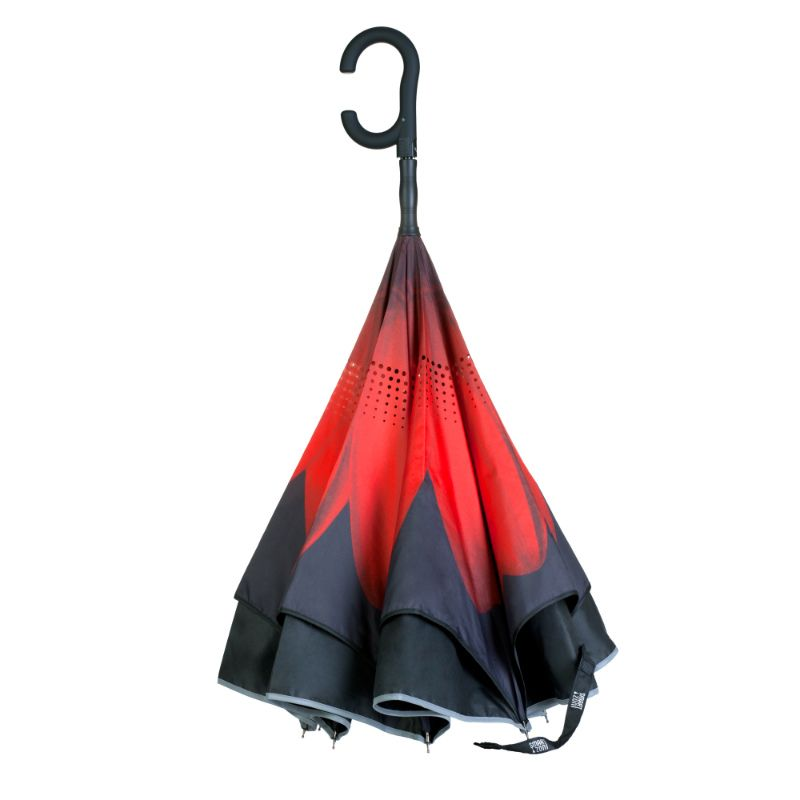 Зонт SmartZont Красный цветокПодарки<br>Сухой после дождя. Всегда. SmartZont Автооткрытие (купол зонта открывается при нажатии на кнопку, закрытие зонта осуществляется вручную).<br>Размер: 86 см; Объем: None; Материал: Стекло; Цвет: Красный;
