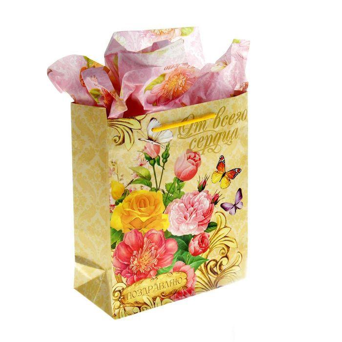 Набор для упаковки подарка Летний садПодарки<br>Набор для упаковки подарка Летний сад<br>Размер: 8 см х 18 см х 23 см; Объем: None; Материал: Бумага; Цвет: Белый / Розовый;