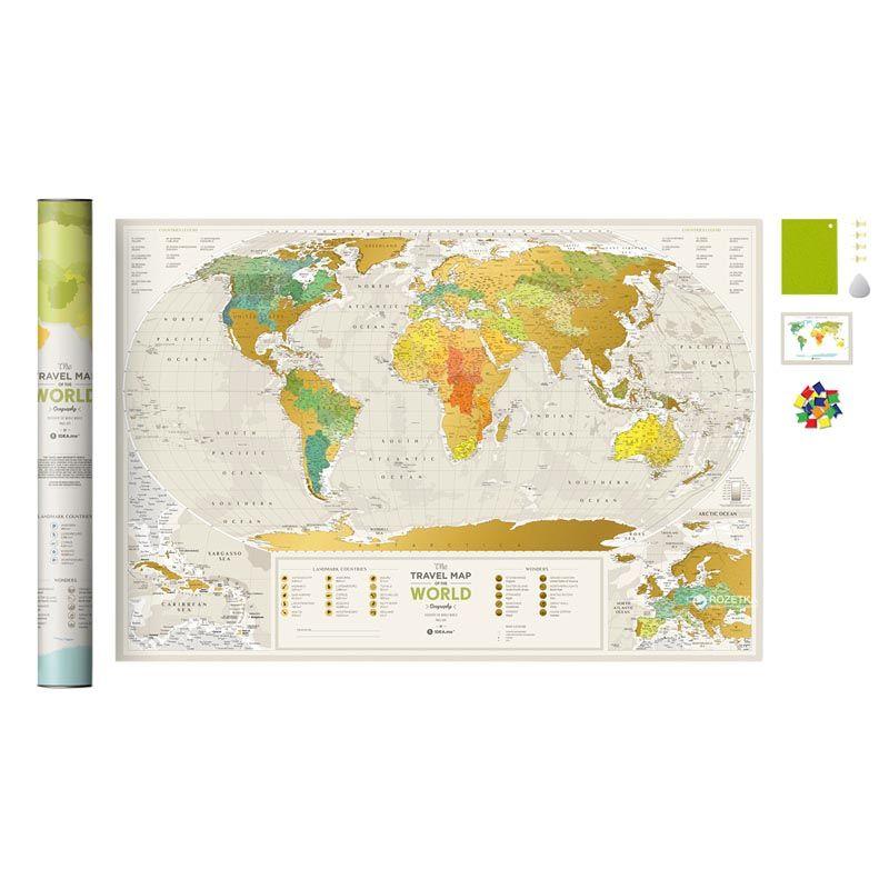 Скретч карта мира GeographyДля путешествий и отдыха<br>Скретч карта мира подойдет к любому интерьеру.<br>Размер: 60 х 80 см; Объем: None; Материал: Бумага; Цвет: Белый / Желтый;