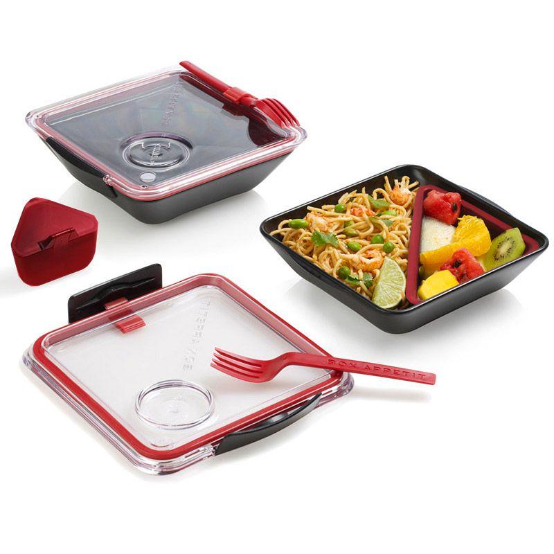 Ланч-бокс Box Appetit черныйПодарки<br>Ланч-бокс Box Appetit черный<br>Размер: 19 х 19 х 5.5 см.; Объем: None; Материал: Полипропилен, силикон; Цвет: Черный / Красный;