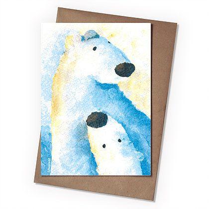 Поздравительная открытка Белые мишки
