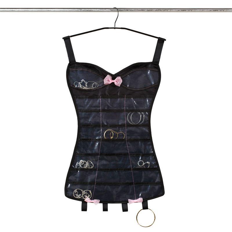 Органайзер для украшений Little corset черныйДля украшений<br>Органайзер для украшений Корсет Little corset<br>Размер: 73 х 35.5 х 0.5 см.; Объем: None; Материал: Полиэстер; Цвет: Черный;