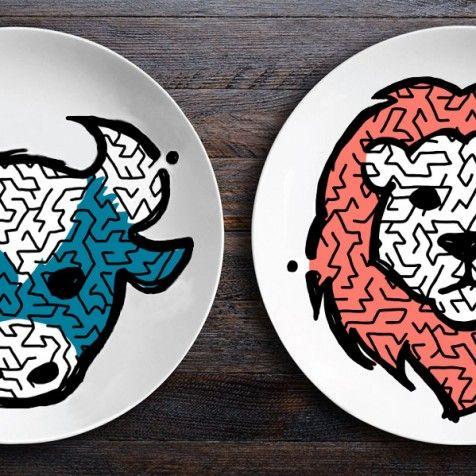 Набор тарелок ЗооЛаб - Бык+Лев