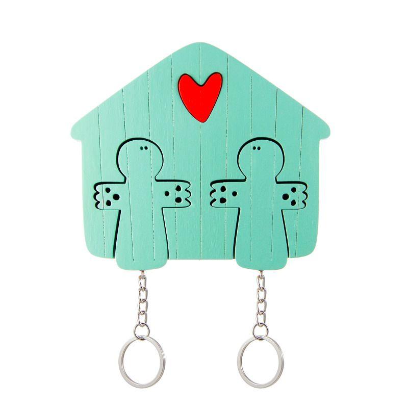 Ключница деревянная на два ключа Ангел мятнаяДача<br>Ключница деревянная на два ключа, история про двух ангелов.<br>Размер: 11 х 9 см; Объем: None; Материал: Дерево; Цвет: Мятный;