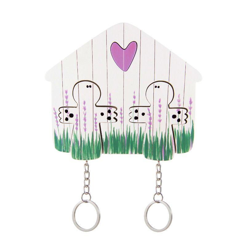 Ключница деревянная на два ключа Ангел ЛавандаЖенщине<br>Ключница деревянная на два ключа в виде ангела будет оберегать ваш дом.<br>Размер: 11 х 9 см; Объем: None; Материал: Дерево; Цвет: Белый / Зеленый;