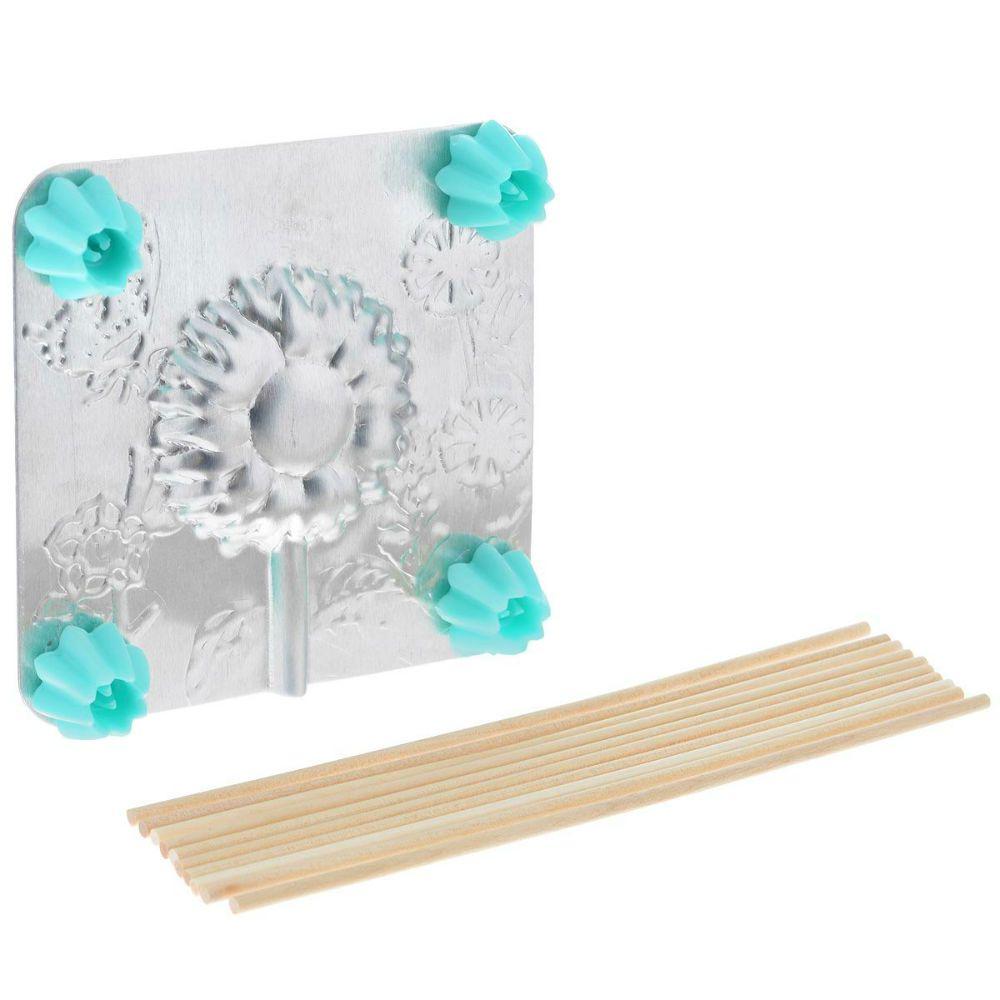 Форма для леденцов - ПодсолнухПодарки<br>Форма для леденцов Подсолнух<br>Размер: 9.5 х 9.5 см.; Объем: None; Материал: Пищевой аллюминий, дерево; Цвет: None;