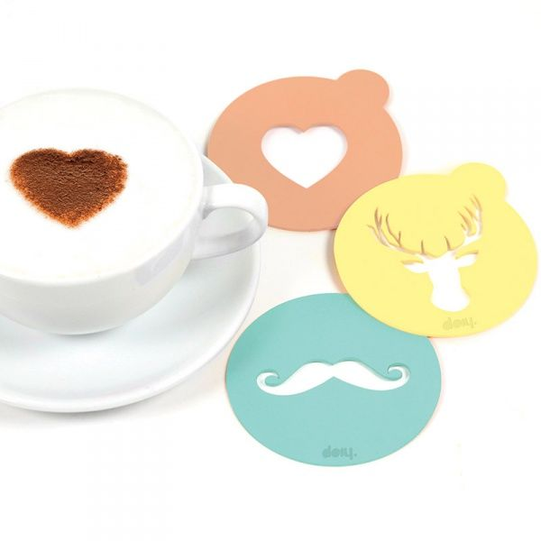 Набор трафаретов для кофе Hip coffeeКоллегам<br>Набор трафаретов для кофе Hip coffee<br>Размер: None; Объем: None; Материал: Акрил; Цвет: None;