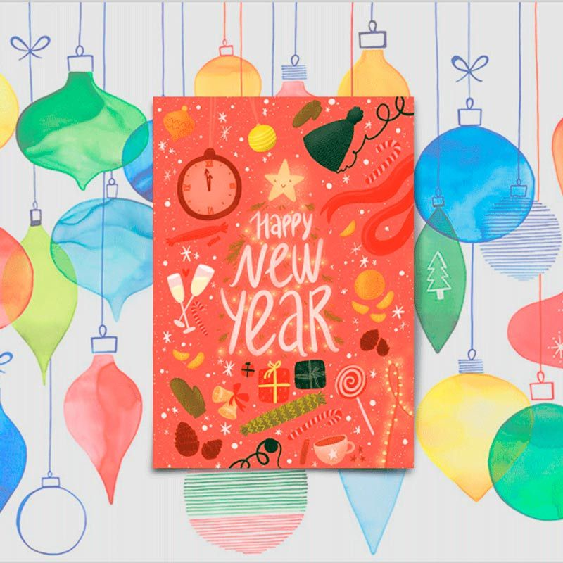 Открытка поздравительная Happy new YearПодарки<br>Happy new Year или с Новым годом.<br>Размер: None; Объем: None; Материал: Бумага с эффектом Soft touch; Цвет: None;