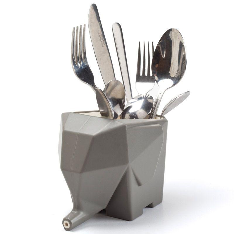 Сушилка для столовых приборов Jumbo сераяПодарки<br>Сушилка для столовых приборов в виде слона.<br>Размер: 16 x 10 x 11.5 см; Объем: None; Материал: Пластик ABS; Цвет: Серый;