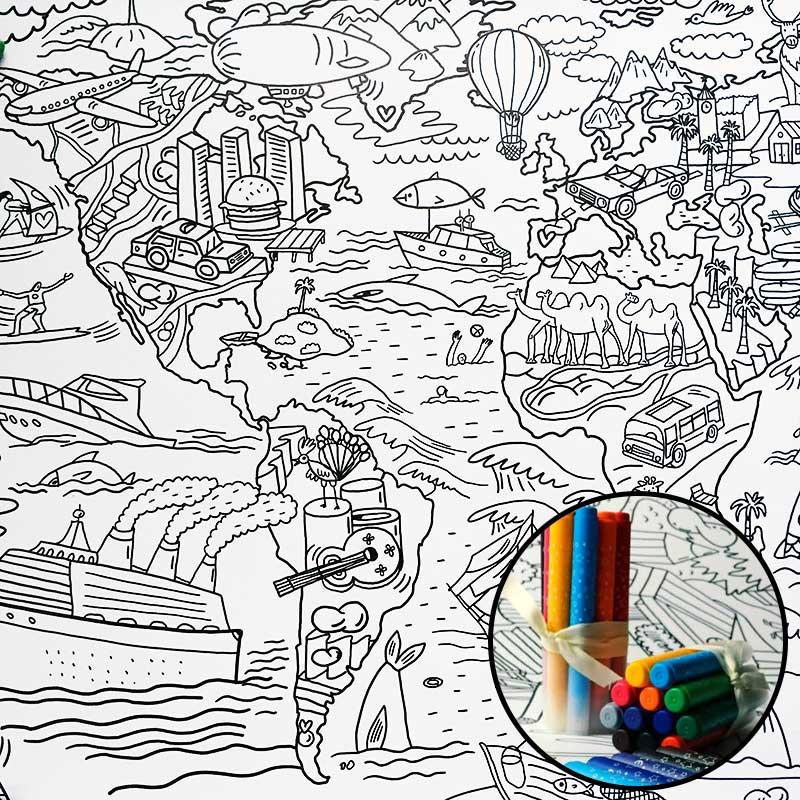 Плакат-раскраска Карта мира от КаракулиПодарки<br>Плакат-раскраска всего света, придется подуше каждому маленькому художнику.<br>Размер: 120 х 77 см; Объем: None; Материал: Бумага; Цвет: None;