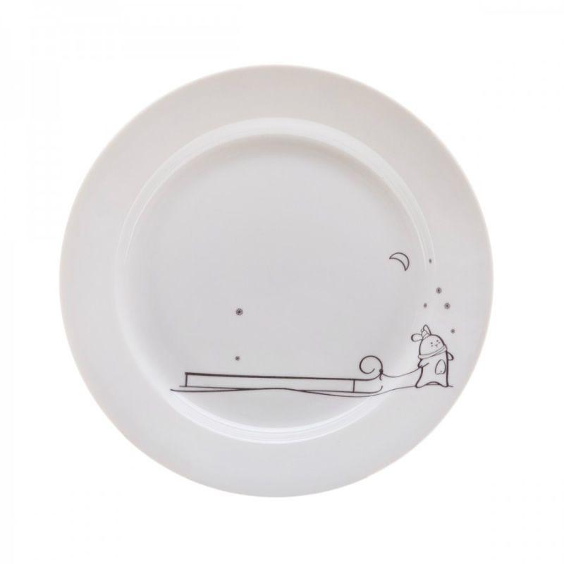 Сюжетная тарелка Кроль с санкамиНовый год<br>Сюжетная тарелка Кроль и санки. Тарелка с милым Кролем. <br> Можно мыть в посудомойке и использовать в микроволновке.<br>Размер: None; Объем: None; Материал: Фарфор; Цвет: Белый;