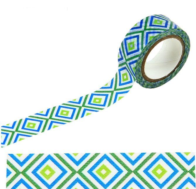 Клейкая лента декоративная бумажная Цветные ромбикиБрату<br>Клейкая лента декоративная бумажная Цветные ромбики<br>Размер: 1,5 см ? 500 см; Объем: None; Материал: Пластик; Цвет: Голубой;