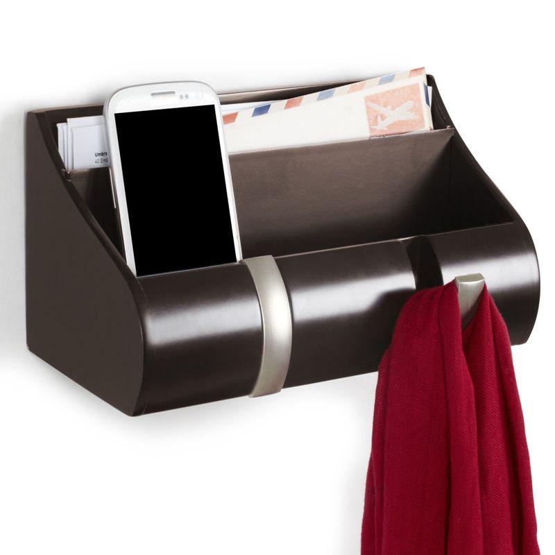Полка - органайзер для прихожей Cubby эспрессоПодарки<br>Прекрасный подарок для любого хозяина гостеприимного дома.<br>Размер: 24 х 14 х 8 см.; Объем: None; Материал: Дерево; Цвет: Черный;