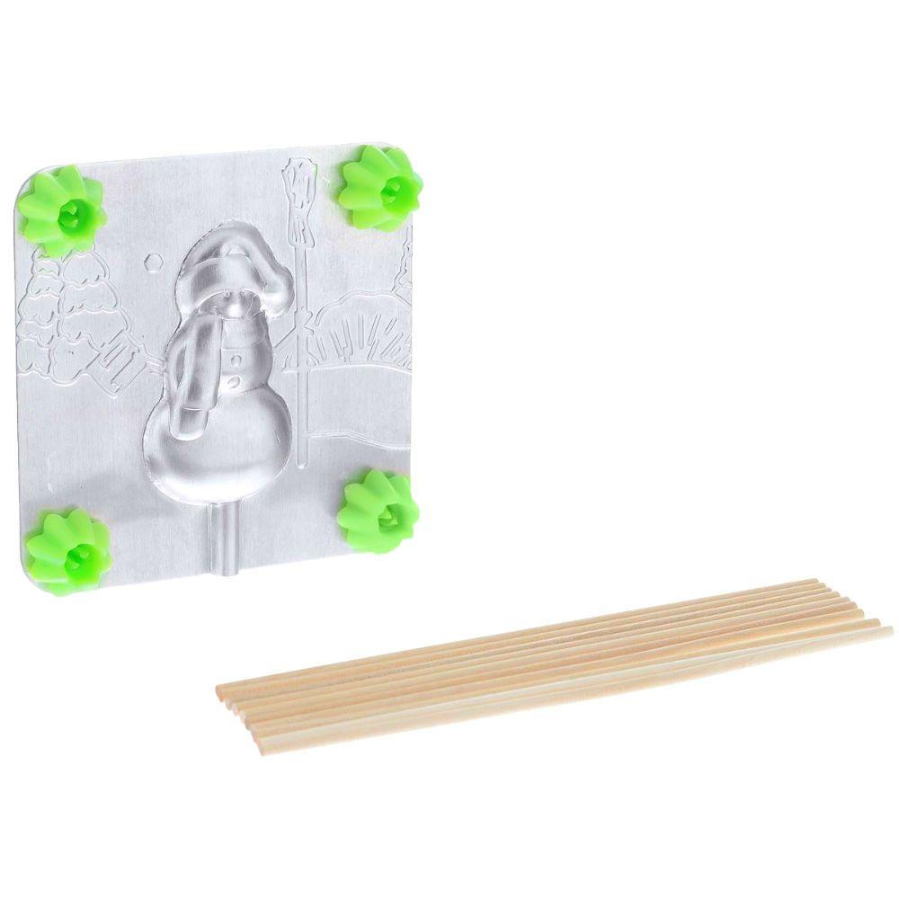 Форма для леденцов - СнеговикНовый год<br>Форма для леденцов Снеговик<br>Размер: 9.5 х 9.5 см.; Объем: None; Материал: Пищевой аллюминий, дерево; Цвет: Серебро;