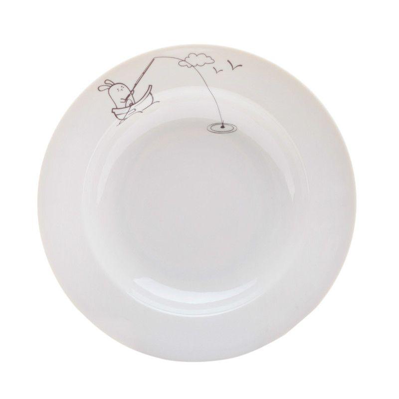 Сюжетная тарелка Кроль рыбак, глубокаяПодарки<br>Сюжетная тарелка Кроль рыбак<br>Размер: None; Объем: None; Материал: Фарфор; Цвет: Белый;