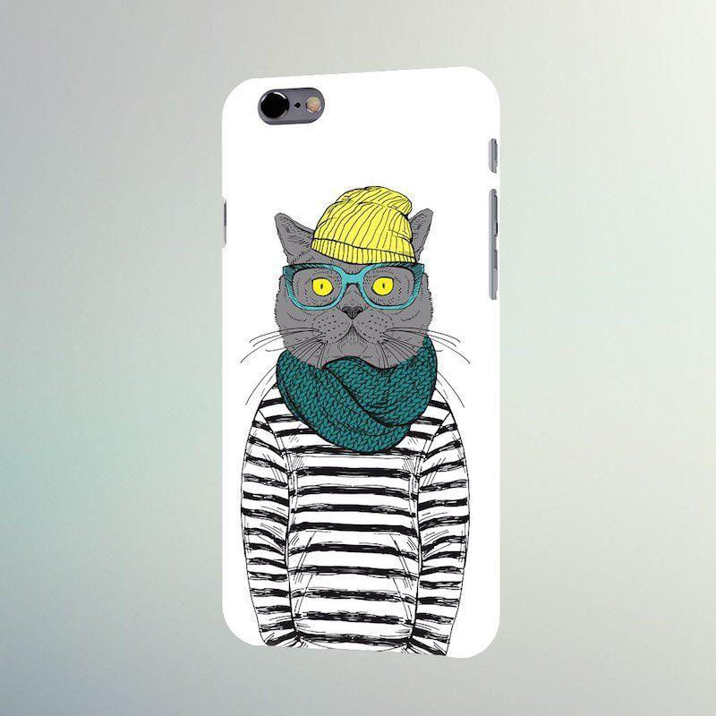 Чехол Creative для iPhone 6/6S (Кот)Аксессуары для гаджетов<br>Добрый и очень модный кот на вашем телефоне.<br>Размер: None; Объем: None; Материал: Пластик; Цвет: Белый;