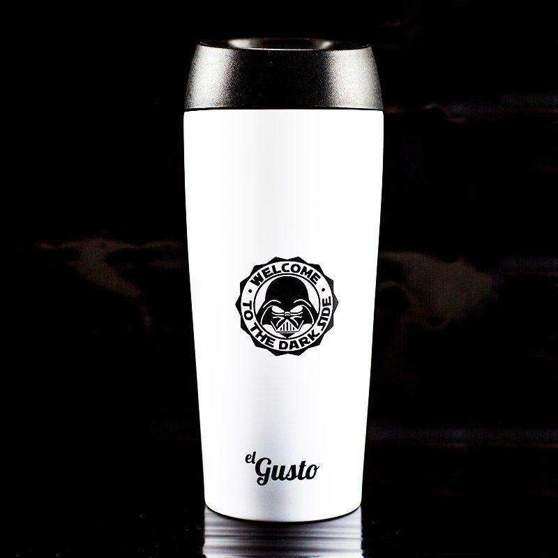 Термокружка El Gusto Grano белая Star WarsПодарки<br>Вы знаете, что пьет Дарт Вейдер, конечно идеально подобранный кофе. Уникальная кружка выполнена из нержавеющей стали по принципу термоса, с...<br>Размер: None; Объем: 470 мл; Материал: Нержавеющая сталь, пластик; Цвет: Белый / Черный;