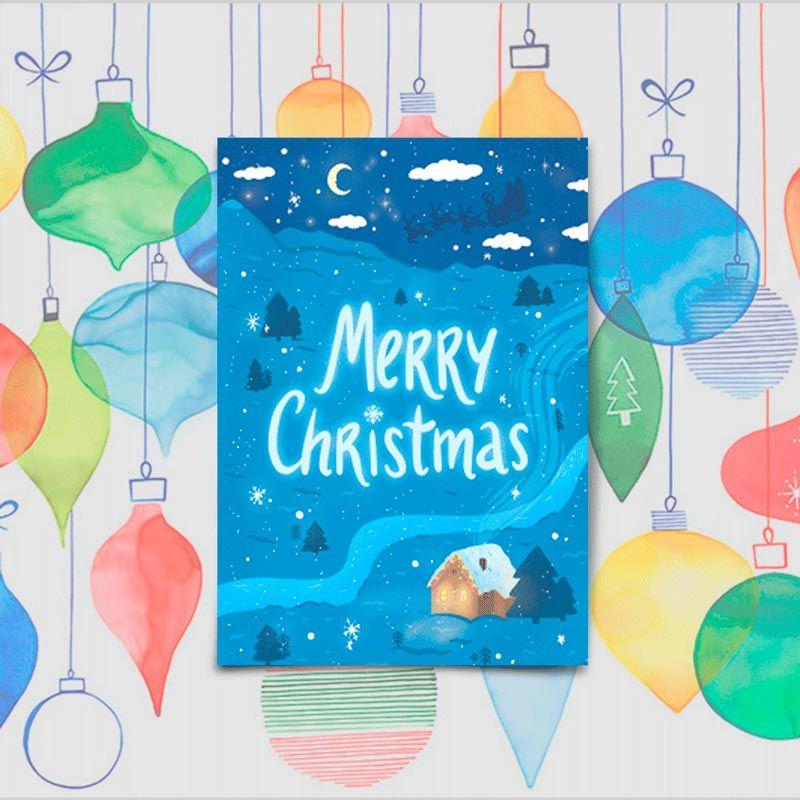 Открытка поздравительная Merry ChristmasПодарки<br>Merry Christmas, Счастливого Рождества.<br>Размер: None; Объем: None; Материал: Бумага с эффектом Soft touch; Цвет: None;