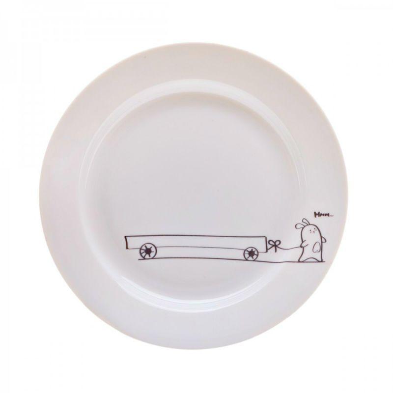 Сюжетная тарелка Кроль с тележкойПодарки<br>Кроль и телега на милой тарелке.<br>Размер: None; Объем: None; Материал: Фарфор; Цвет: Белый;