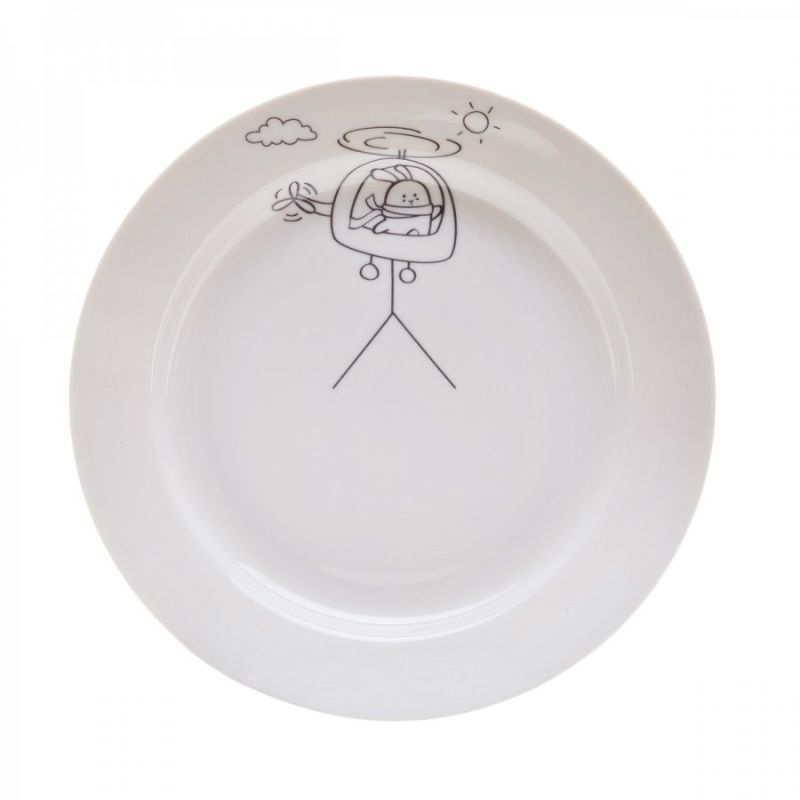 Сюжетная тарелка Кроль на вертолетеПодарки<br>Сюжетная тарелка Кроль на вертолете<br>Размер: None; Объем: None; Материал: Фарфор; Цвет: Белый;