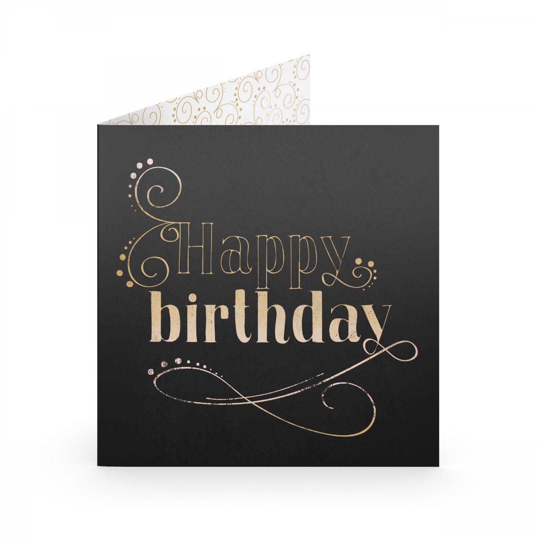 Открытка Happy BirthdayПодарки<br>Стильная открытка стильному имениннику. Не всегда найдешь подходящее поздравление, но благодаря такой открытке - оно не пригодится.<br>Размер: 20 х 20 см; Объем: None; Материал: Бумага; Цвет: Черный;