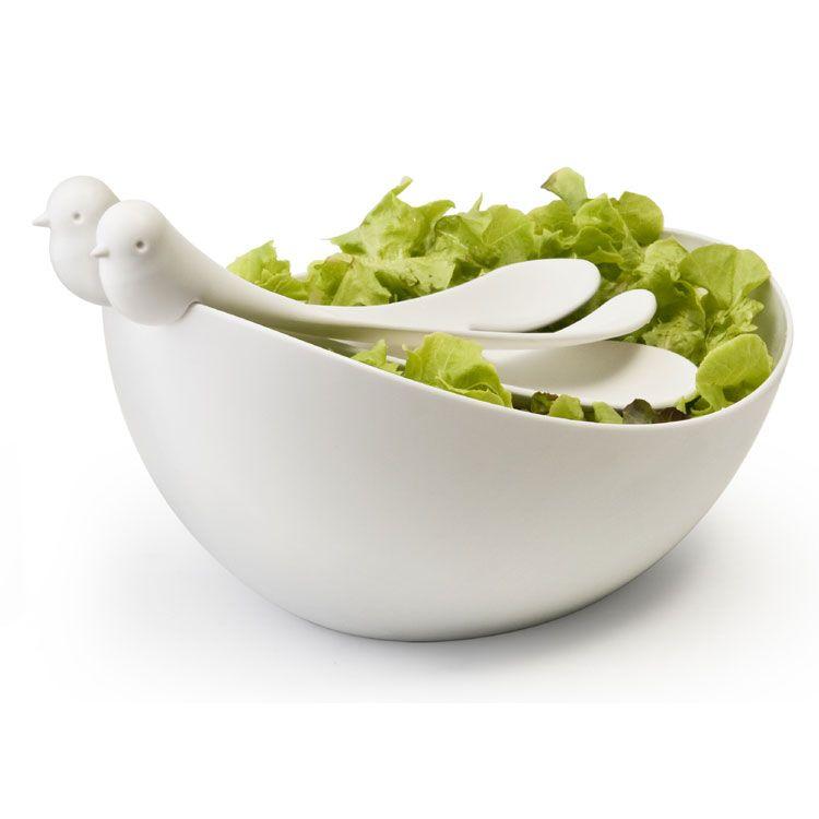 Салатница с ложками Sparrow salad set (Белый)Жене<br>Салатная миска Воробей SPARROW SALAD SET (Белый)<br>Размер: None; Объем: None; Материал: Пластик; Цвет: Белая миска / Белые ложки;