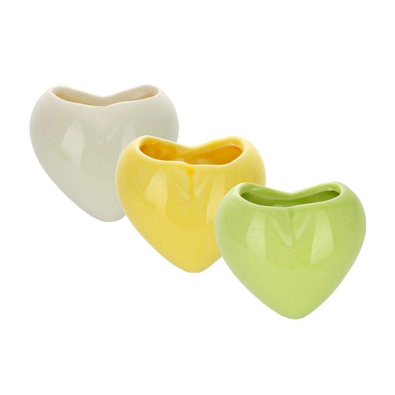 Набор мини-кашпо Heart желтый/белый/зеленыйНаборы для выращивания<br>Набор мини-кашпо Heart желтый/белый/зеленый<br>Размер: 6 х 6.3 см.; Объем: None; Материал: Керамика; Цвет: None;