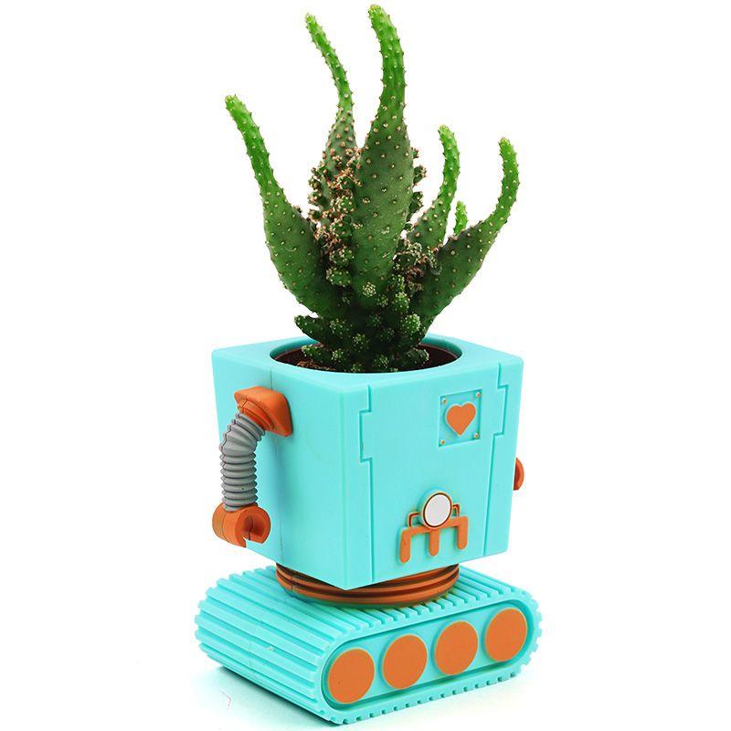 Горшок цветочный Planterbot голубойДача<br>Горшок цветочный Planterbot голубой<br>Размер: 11 х 6 х 17 см.; Объем: None; Материал: Пластик; Цвет: Голубой;