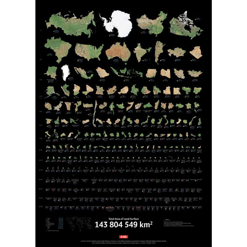 Плакат с инфографикой Суша, английский языкПодарки<br><br>Размер: 60 ? 84 см; Объем: None; Материал: Бумага; Цвет: Черный / Зеленый;