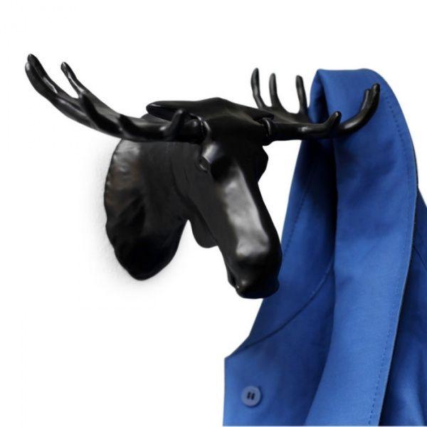 Вешалка Moose чернаяПодарки<br>Вешалка - Лось (Moose Hook) (Цвет: черный)<br>Размер: 13.8 х 22 х 12.5 см.; Объем: None; Материал: Металл; Цвет: Черный;