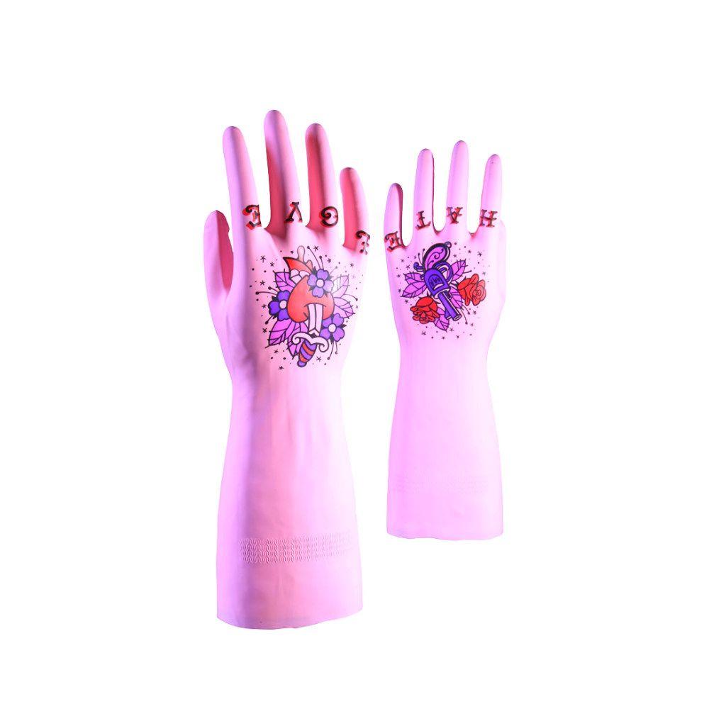 Перчатки с татуировками True Glove розовые SЖене<br>Татуированные перчатки TrueGlove (розовые) S<br>Размер: S; Объем: None; Материал: Латекс; Цвет: Розовый;